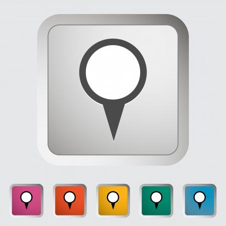pinning: Map pin single icon  illustration