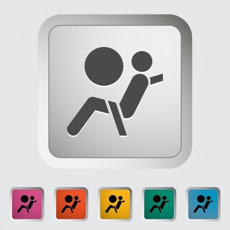 airbag: Seat belt. Single icon. Vector illustration. Illustration