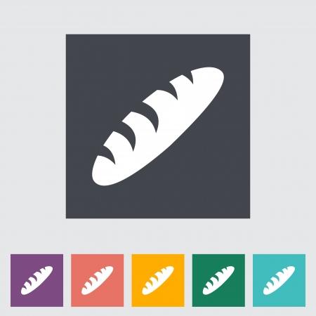 Bread. Single flat icon. Vector illustration. Illustration