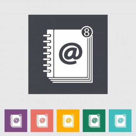 contact book: Contactar libro icono �nico plano. Ilustraci�n del vector.