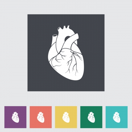 Heart flat icon, black silhouette. Vector illustration. Stock Vector - 21025712