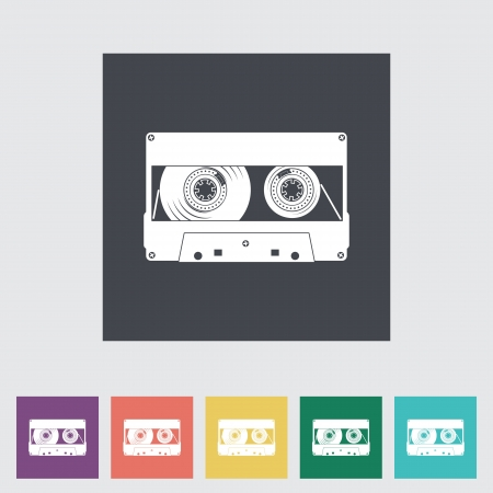 Audiocassette flat single icon. Vector illustration. Vector