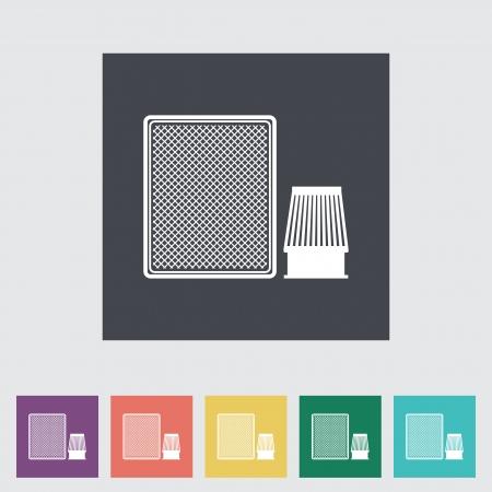 Automotive filter flat icon. Vector illustration.