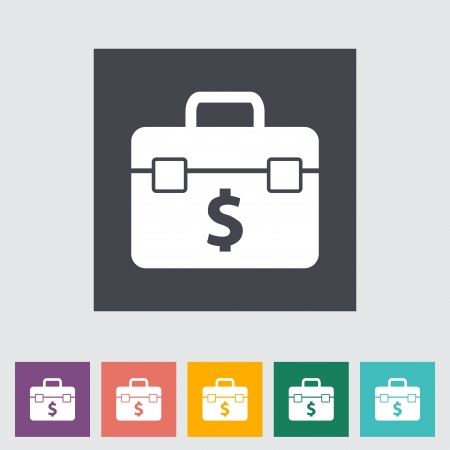 Briefcase flat single icon. Vector illustration. Stock Vector - 21025785