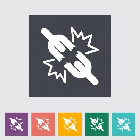 Broken connection flat single icon. Vector illustration.