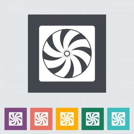 Radiator fan flat icon. Vector illustration. Vector