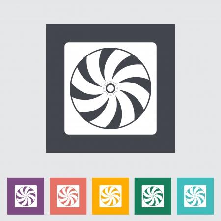 coolant temperature: Radiator fan flat icon. Vector illustration.