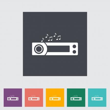 tuner: Car radio flat icon. Vector illustration.