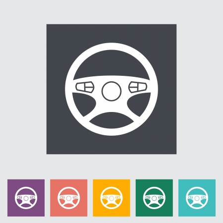 Car Steering Wheel flat icon. Vector illustration. Vector