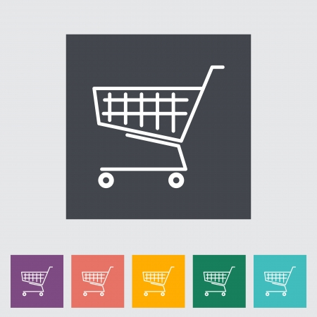 Cart flat single icon. Vector illustration. Vector