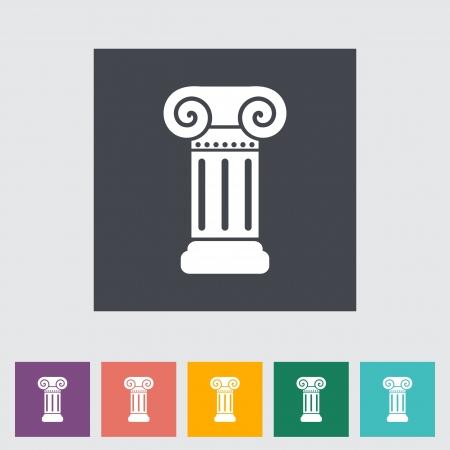 columna corintia: Columna plana icono �nico. Ilustraci�n del vector.