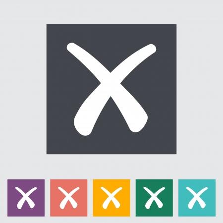 Delete button. Single flat icon. Vector illustration.