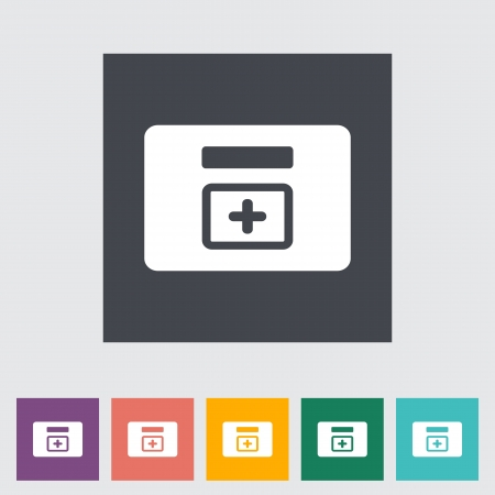 First aid kits flat icon. Vector illustration. Stock Vector - 21026032