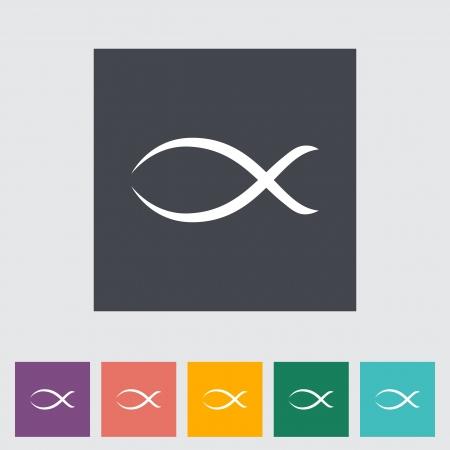 christian fish: Icono de los pescados planos individual. Ilustraci�n del vector.