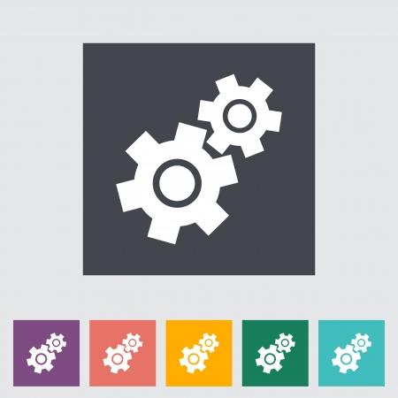 Gear flat icon. Vector illustration EPS.