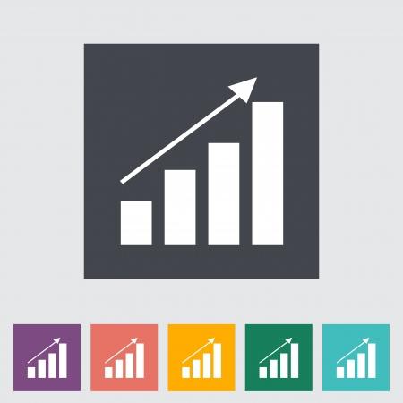 Graph flat single icon. Vector illustration. Stock Vector - 21026105