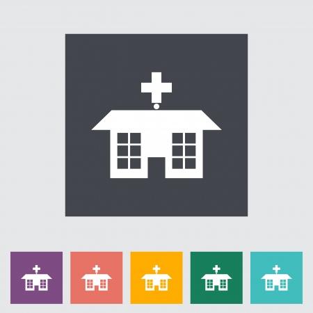Hospital. Single flat icon. Vector illustration. Stock Vector - 21026109