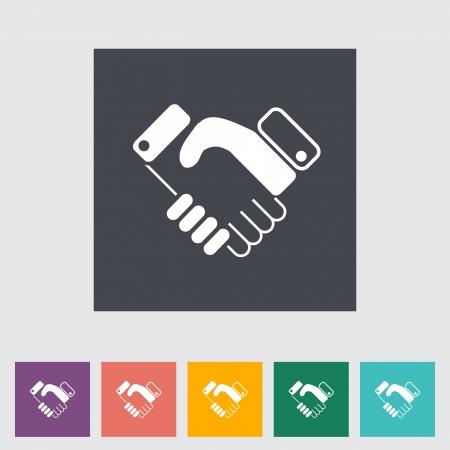 mani che si stringono: Accordo piatta icona. Illustrazione di vettore. Vettoriali