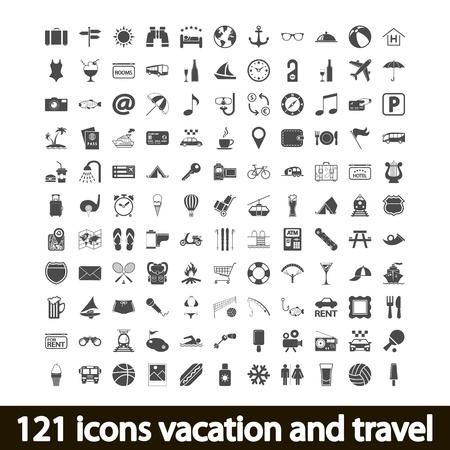 121 icone di vacanza e di viaggio. Illustrazione di vettore.