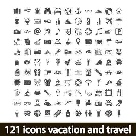 people travelling: 121 icons vacation and travel. Vector illustration.