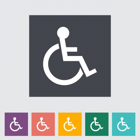 Disabled flat single icon. Vector illustration. Stock Vector - 21026142
