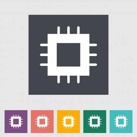 Electrónicos icono plana chip. Ilustración del vector.