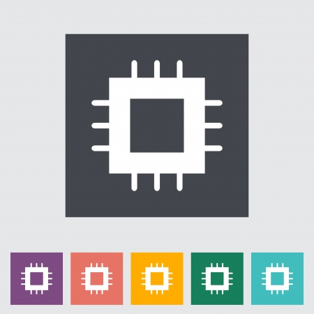 semiconductor: Electronic chip flat icon. Vector illustration. Illustration