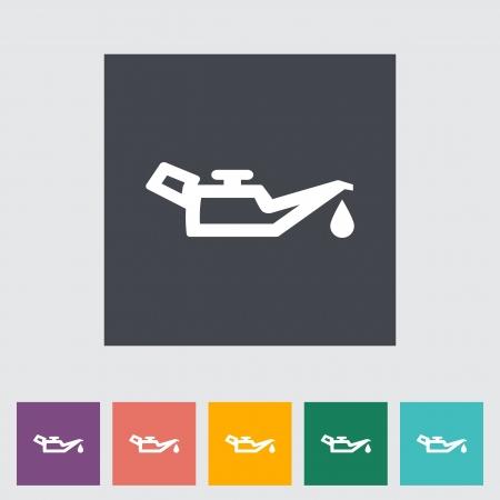 pressure bottle: El aceite del motor. �nico icono plana. Ilustraci�n del vector. Vectores