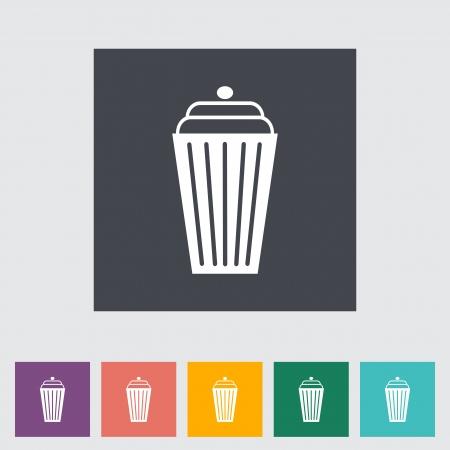 decorative urn: Basket flat single icon. Vector illustration.