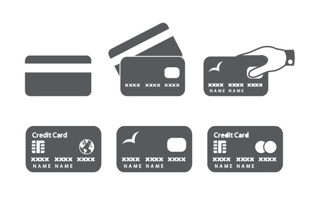 Credit card icons  illustration  Vectores