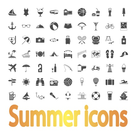 Summer Icons  illustration Stock Vector - 21113654
