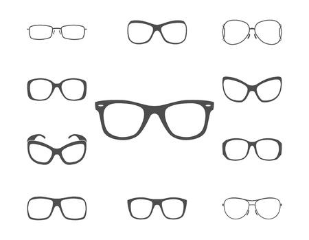 eyewear: Glasses and sunglasses silhouettes set. illustration.