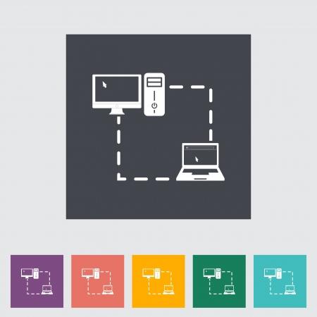 Computer sync single flat icon. illustration. Stock Vector - 21113658