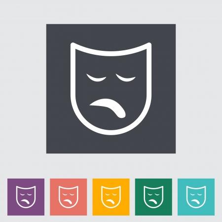 theather: Theatrical mask. Single flat icon. illustration.