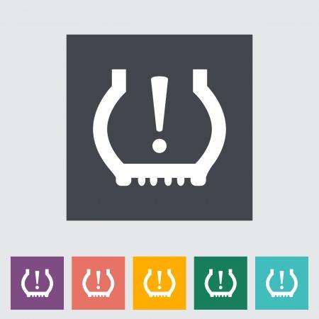 Tire Pressure. Single flat icon. illustration. Vector Illustration
