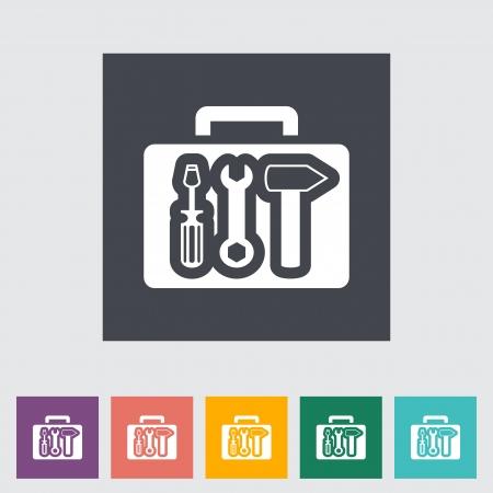 Tool box single flat icon. illustration. 일러스트