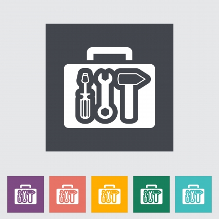 tools: Tool box single flat icon. illustration. Illustration