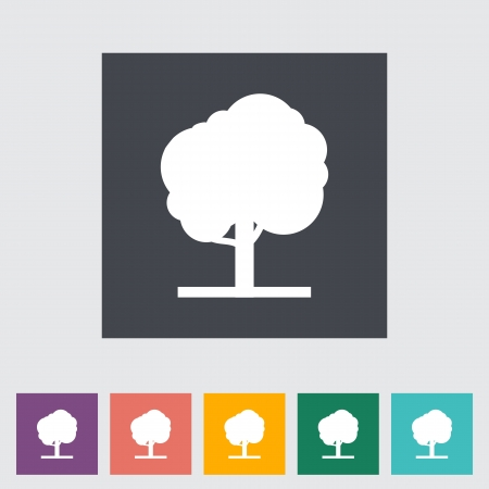 Tree. Single flat icon. illustration. Stock Vector - 21113745