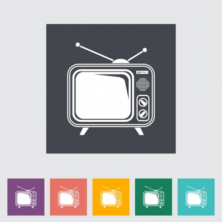 TV single flat icon. illustration. Stock Vector - 21113744