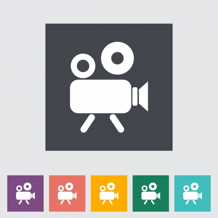 Video camera. Single flat icon. illustration. Vector