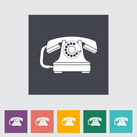 vintage telefoon: Vintage telefoon flat icon. illustratie.