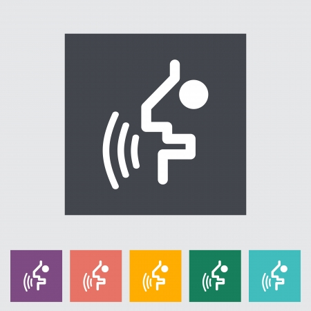 Voice recognition button. Single flat icon. illustration. Vector