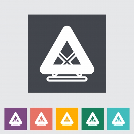 Warning triangle single flat icon. illustration. Vector