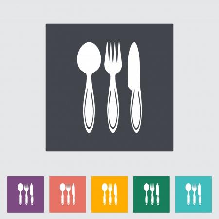 Spoon, fork, knife. Single flat icon illustration. Vector