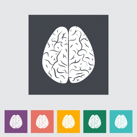 illustration of a human brain. Single flat icon. Vector