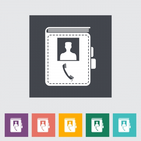 Contact book single flat icon illustration. Vector