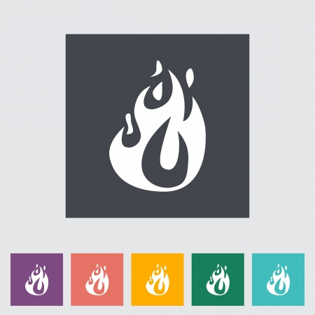 Fire elements. Single flat icon illustration. Vector