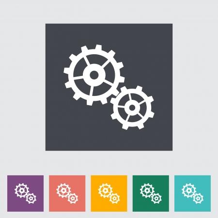 Gear flat icon illustration. Stock Vector - 21114782