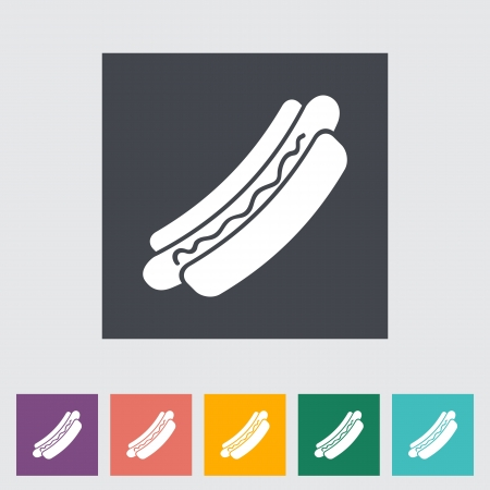 Hot dog. Single flat icon illustration. Stock Vector - 21114785