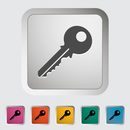 safe lock: Key. Single flat icon illustration.